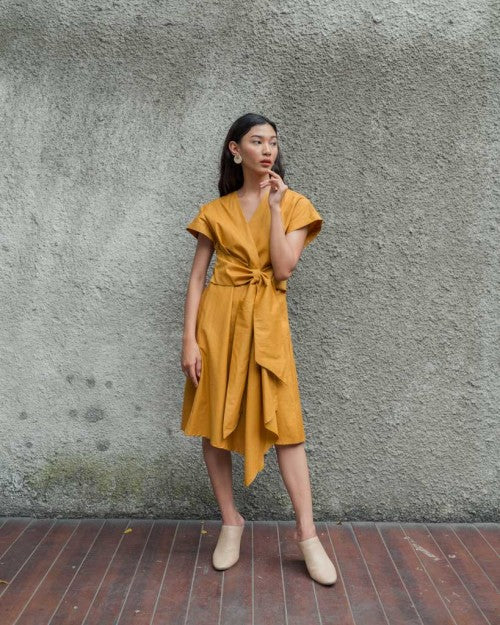 Catalina Wrap Dress in Mustard (READY!)