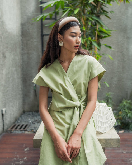 Catalina Wrap Dress in Fresh Green (READY!)
