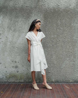 Catalina Wrap Dress in White (READY!)