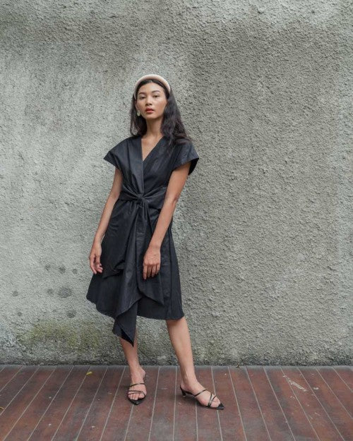 Catalina Wrap Dress in Black (READY!)