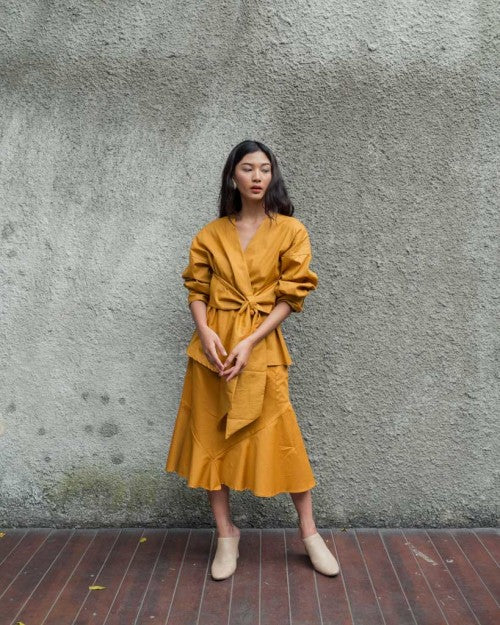 Obi Wrap Blouse in Mustard (READY!)