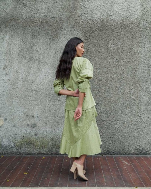 Obi Wrap Blouse in Fresh Green (READY!)