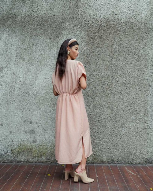 Miami Button Dress in Blush Nude (READY!)