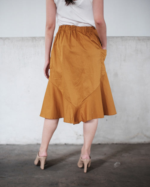 Tropic Flare Skirt in Mustard (READY!)