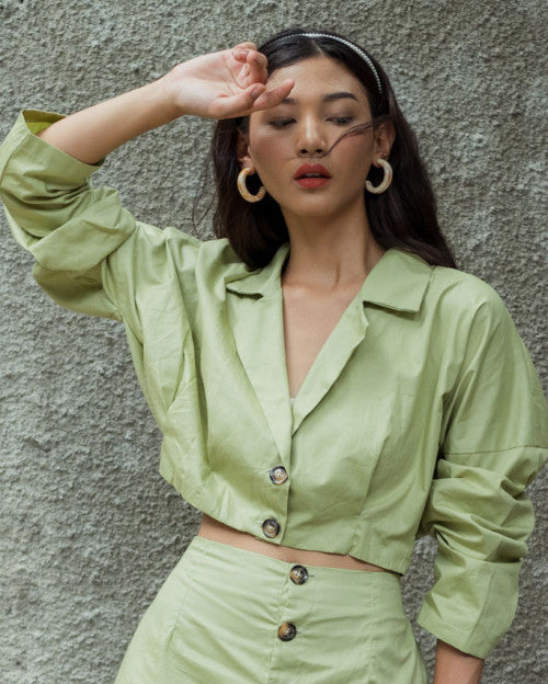 Marley Cropped Top in Fresh Green (READY!)