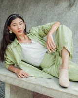 Basic Oversized Shirt in Fresh Green