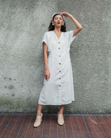 Miami Button Dress in White (READY!)