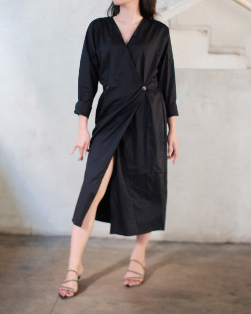 Barbara Wrap Dress in Black