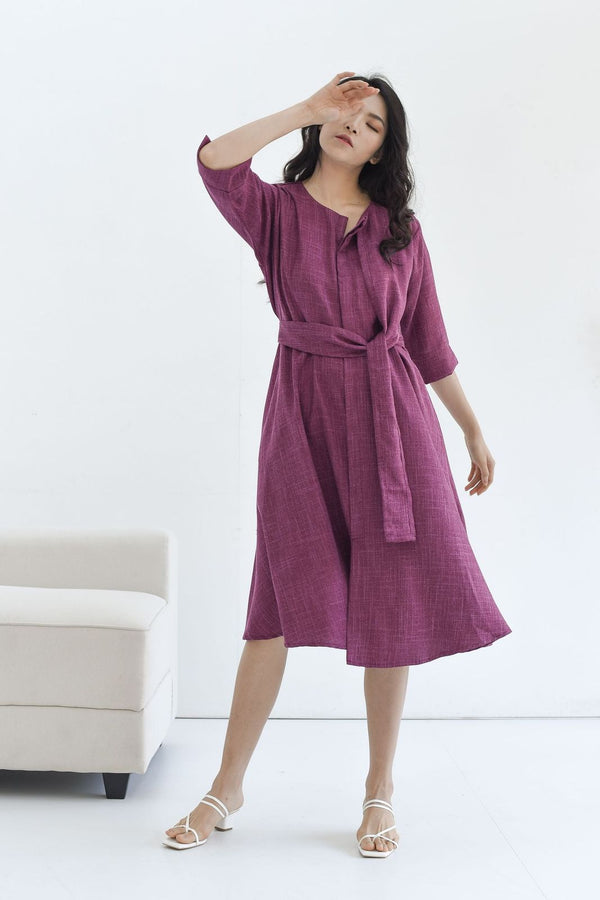 Taylor Midi Dress in Plum