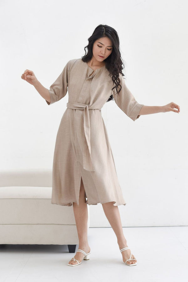 Taylor Midi Dress in Nude