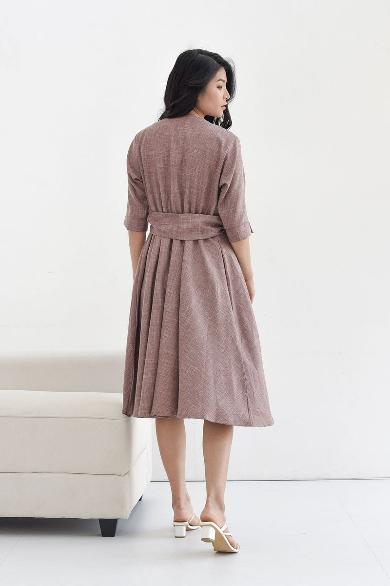 Taylor Midi Dress in Milo Mauve
