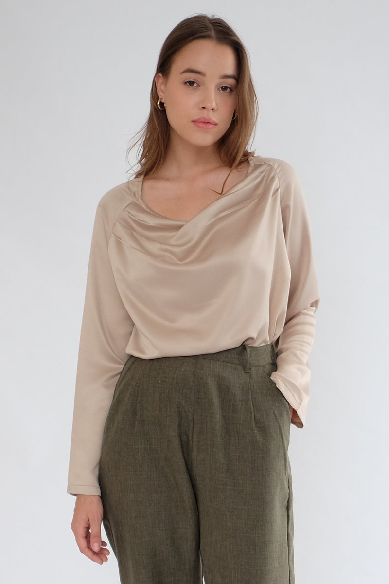 Satin Drapery Top in Nude