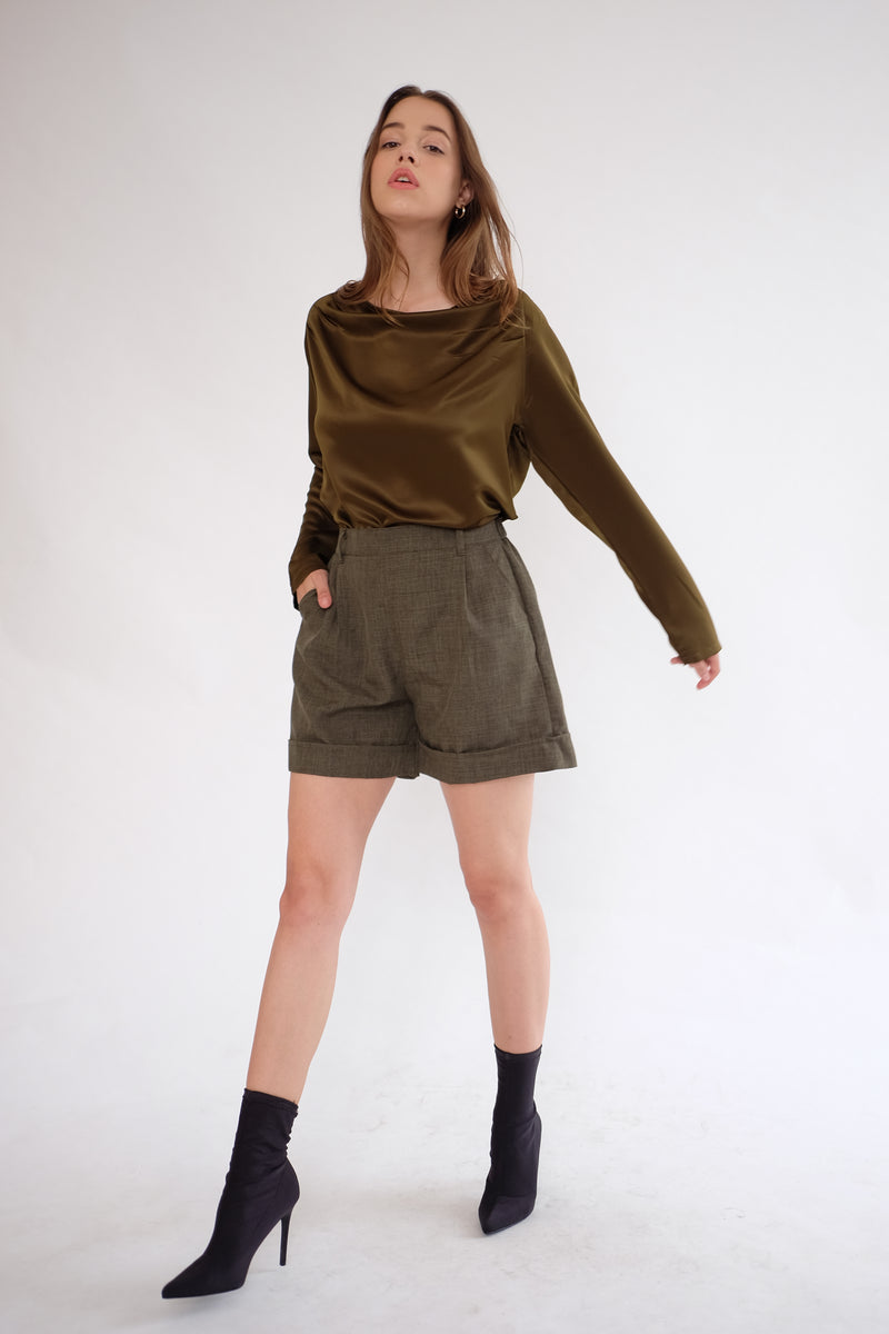 Satin Drapery Top in Olive
