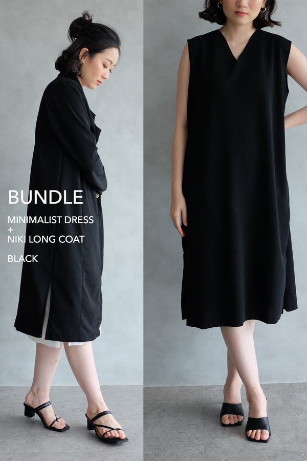 BUNDLE DRESS + OUTER: BLACK