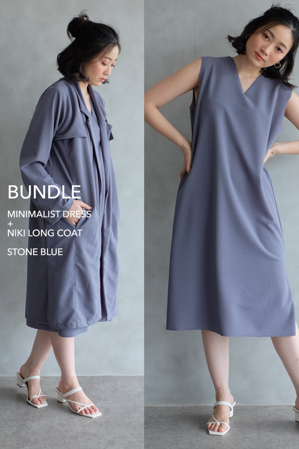 BUNDLE DRESS + OUTER: STONE BLUE