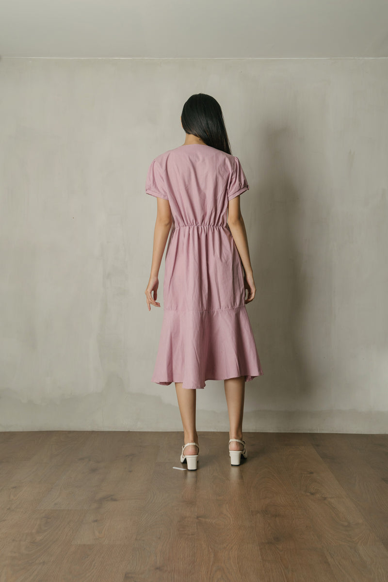 Cassie Button Midi Dress in Pinkish Lavender