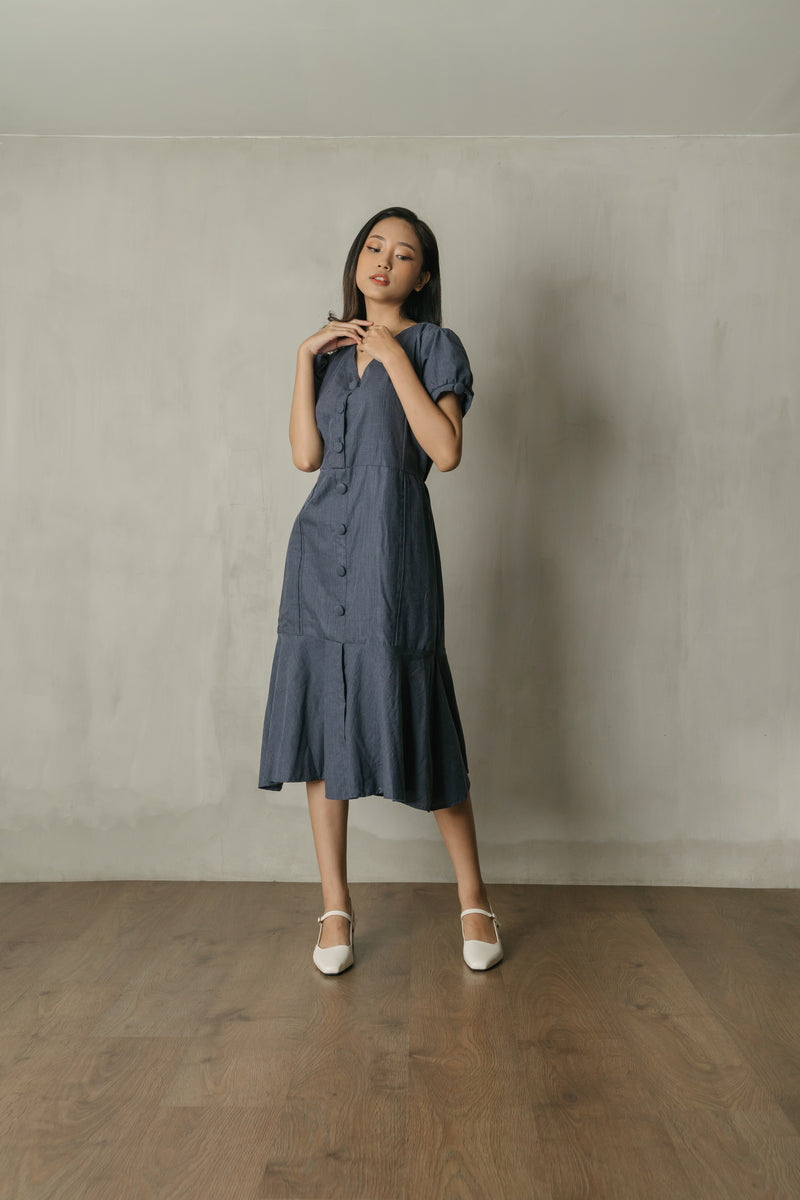 Cassie Button Midi Dress in Navy Denim