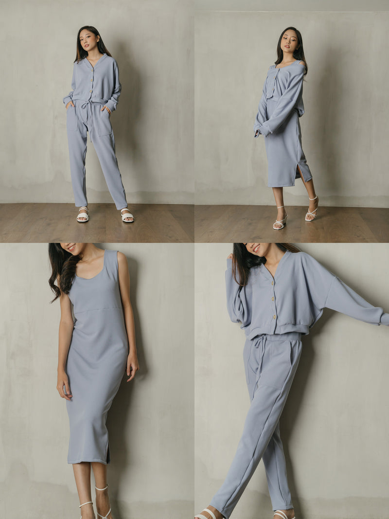 PO Bundle Knit Set in Powdery Lilac (Top, Dress, Pants) (SHIP 7-20 DAYS)