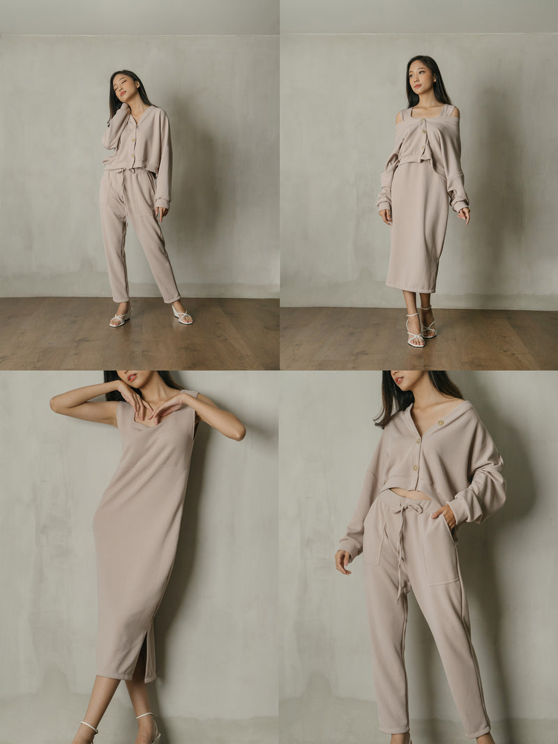 PO Bundle Knit Set in Nude (Top, Dress, Pants) (SHIP 7-20 DAYS)