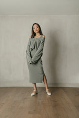 Alma Knit Cardigan Top in Smoke Green