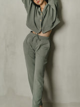 Salome Knit Highwaist Pants in Smoke Green