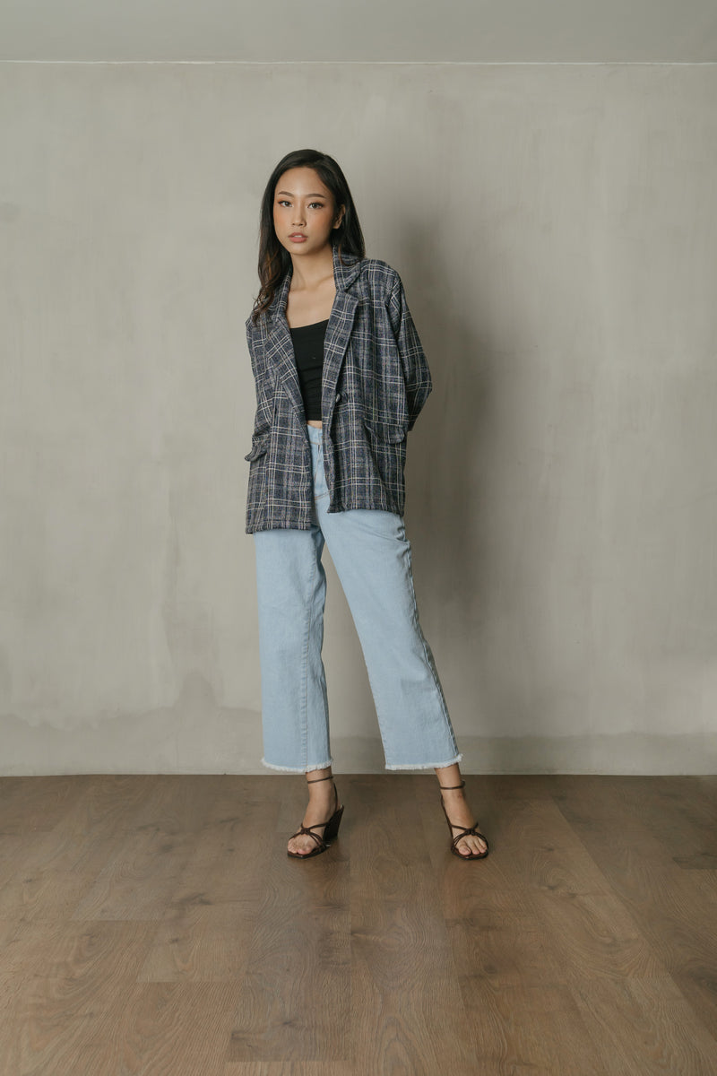 Austen Plaid Blazer Top in Navy Denim