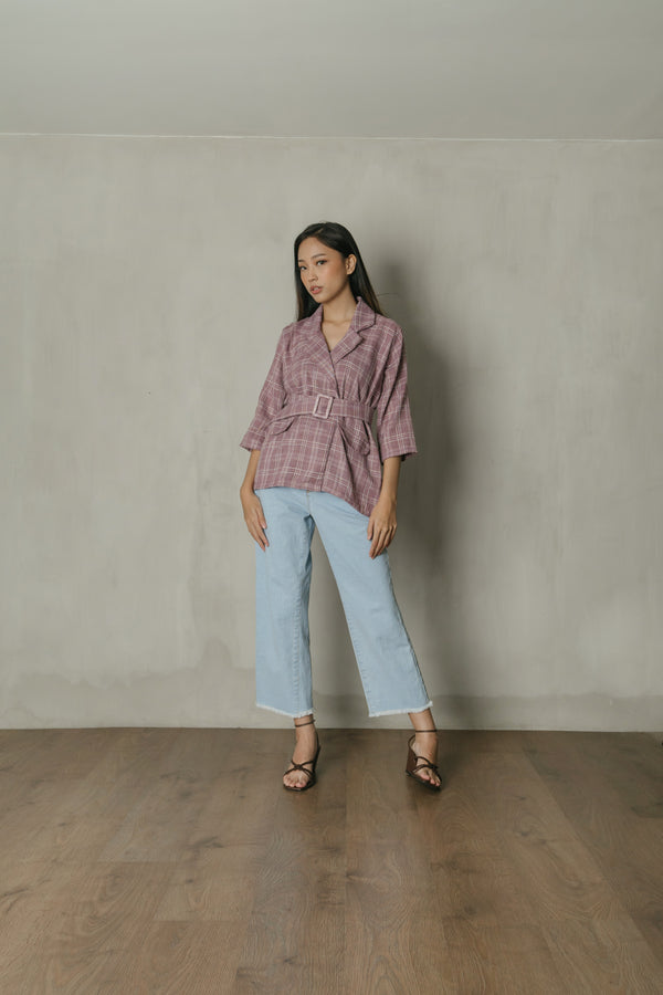 Austen Plaid Blazer Top in Mauve Purple