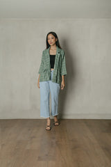 Austen Plaid Blazer Top in Teal Green