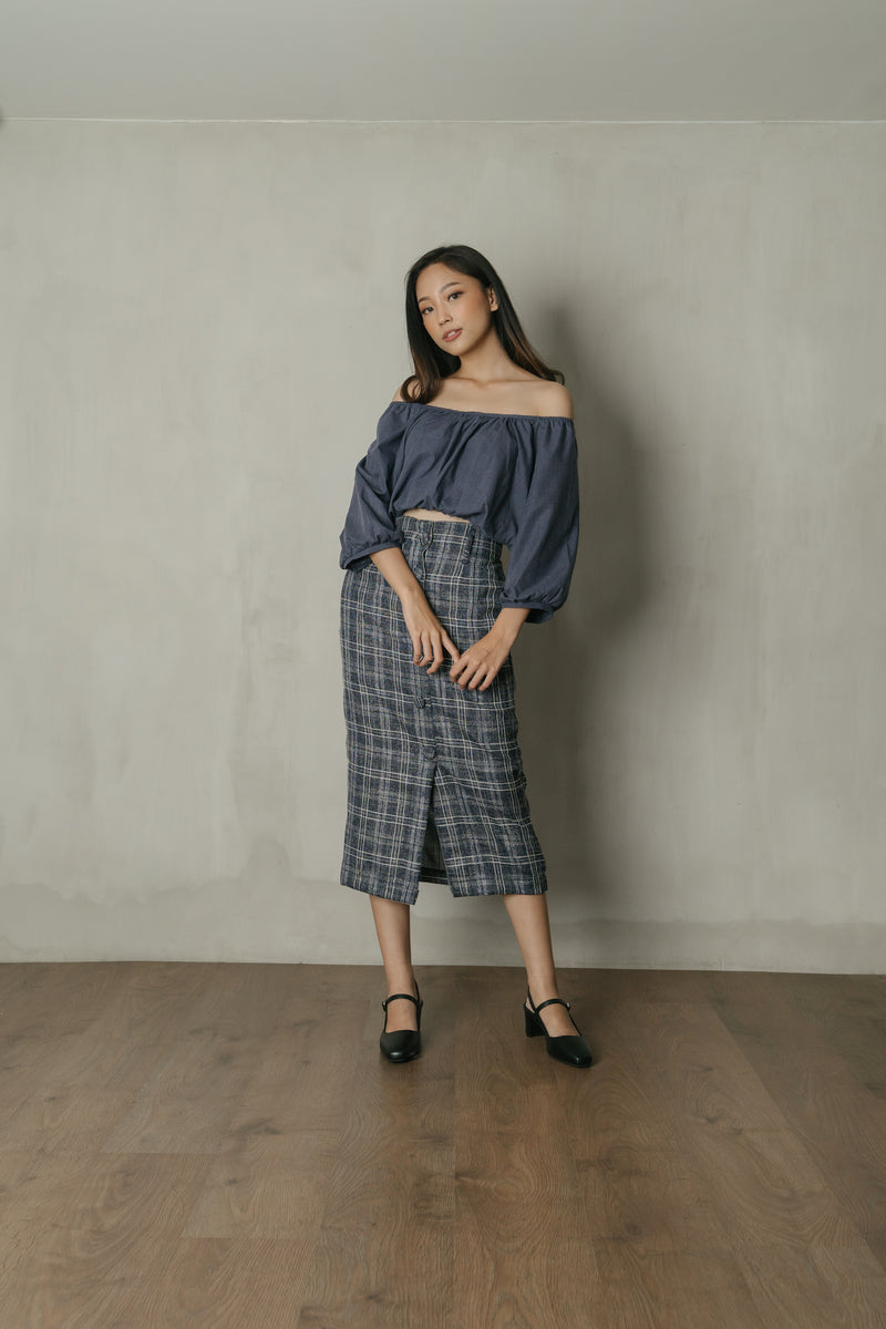 Frida Plaid Midi Skirt in Navy Denim