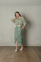 Frida Plaid Midi Skirt in Teal Green