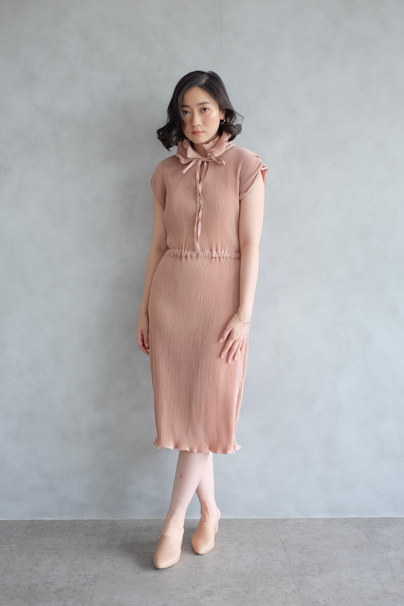Pome Pleats Midi Dress in Nude