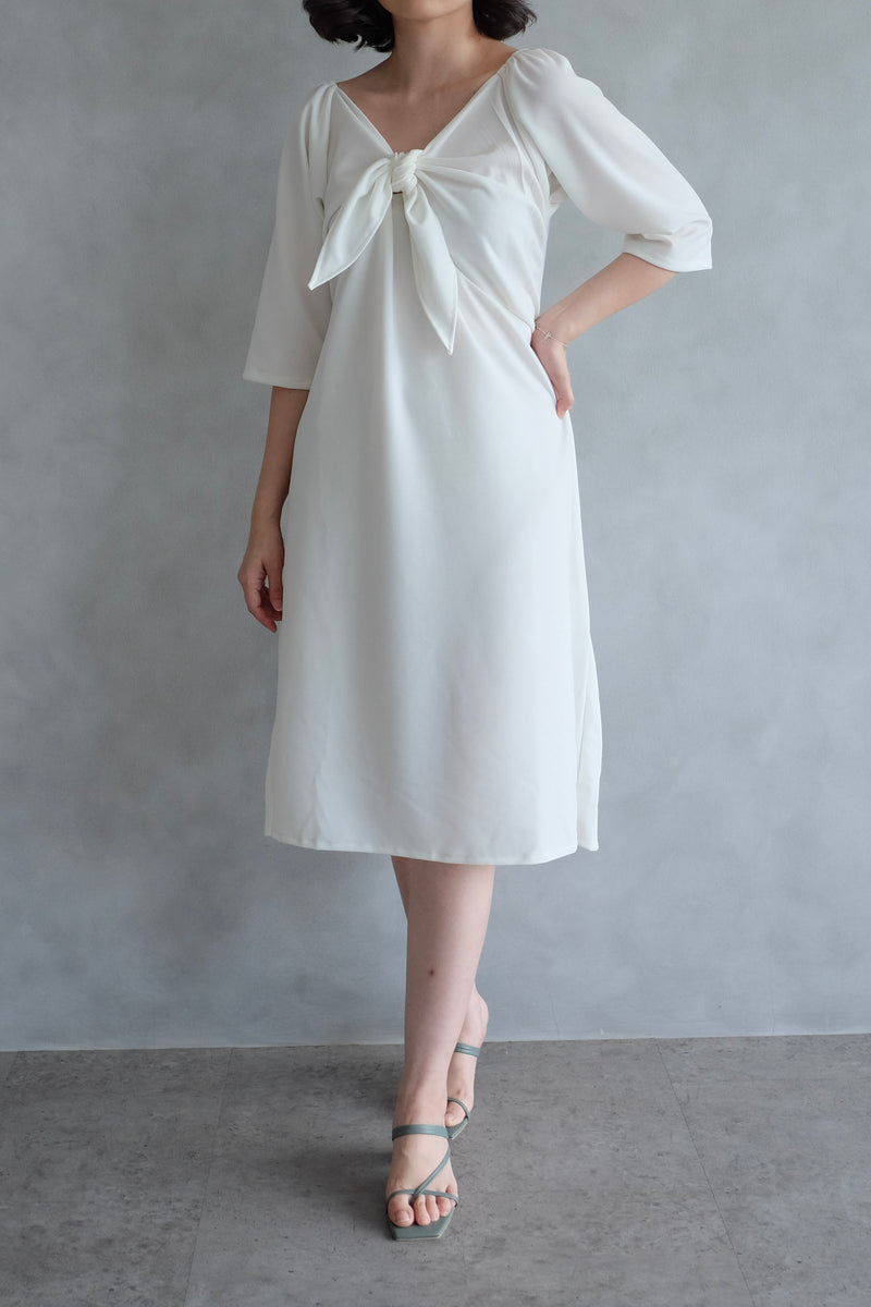 Amber Knot Multiway Dress in Pearl White