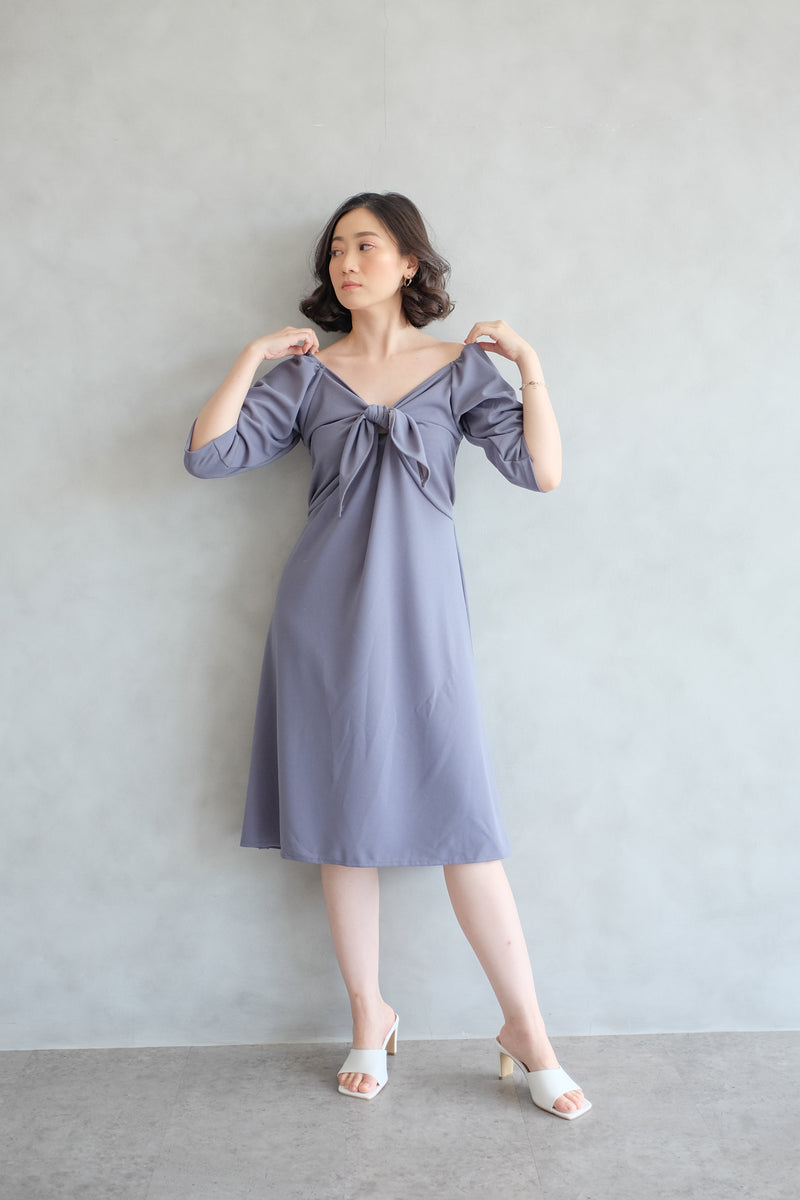 Amber Knot Multiway Dress In Stone Blue