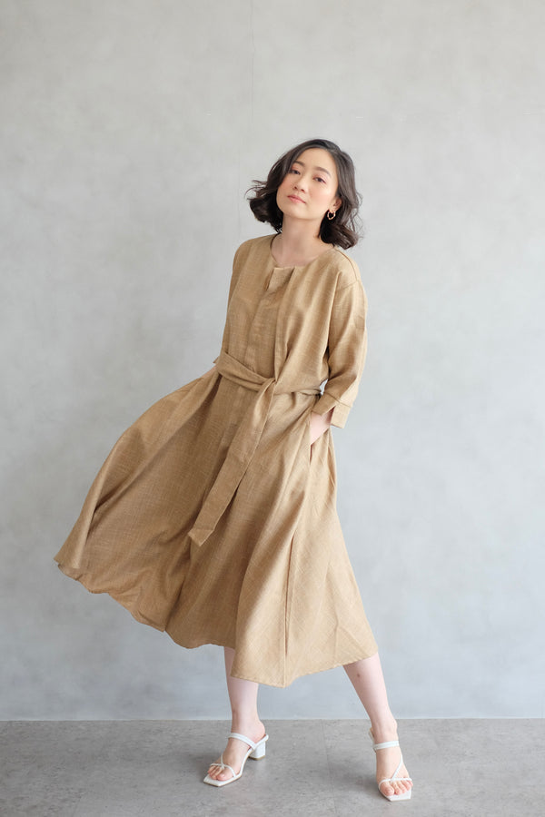 PO Taylor Midi Dress In Potato Yellow (SHIP MAX BEFORE CNY)