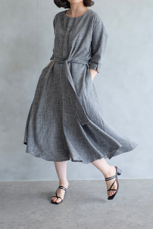 PO Taylor Midi Dress In Charcoal Grey (SHIP MAX BEFORE CNY)