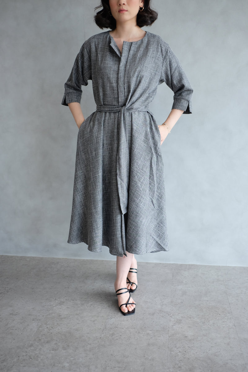 Taylor Midi Dress In Charcoal Grey