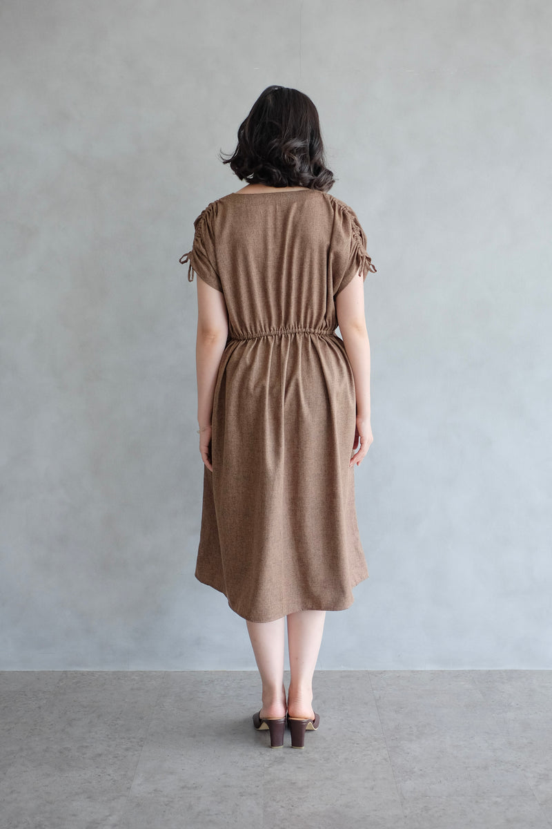 Calais Drawstring Dress In Coffee
