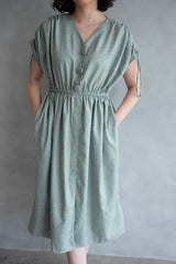 Calais Drawstring Dress In Mint Green