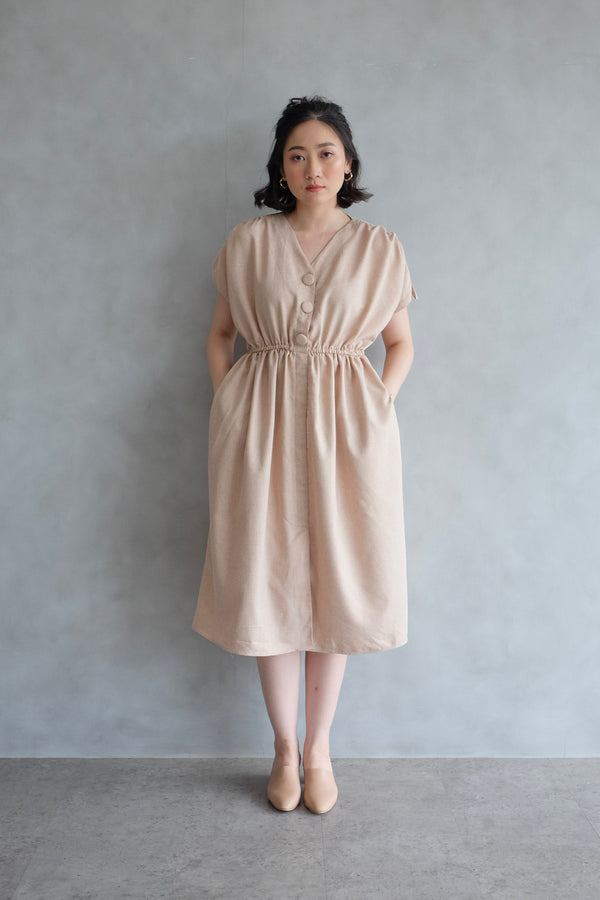 Calais Drawstring Dress In Blush Nude