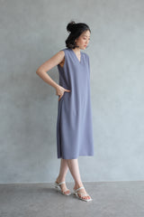 The Minimalist Dress In Stone Blue