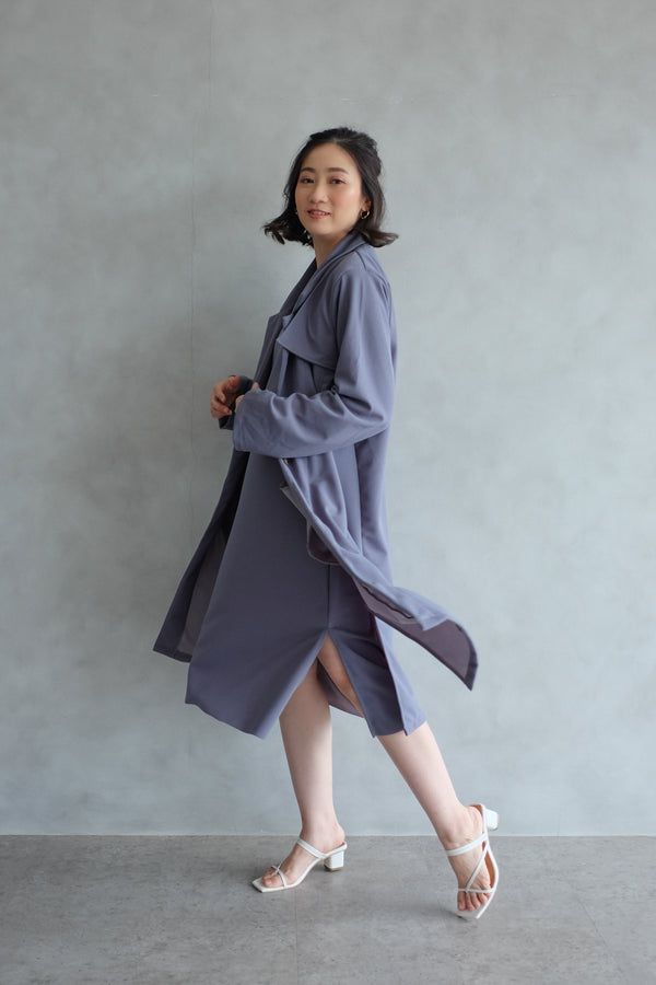 Niki Long Coat In Stone Blue