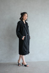 Niki Long Coat In Jet Black