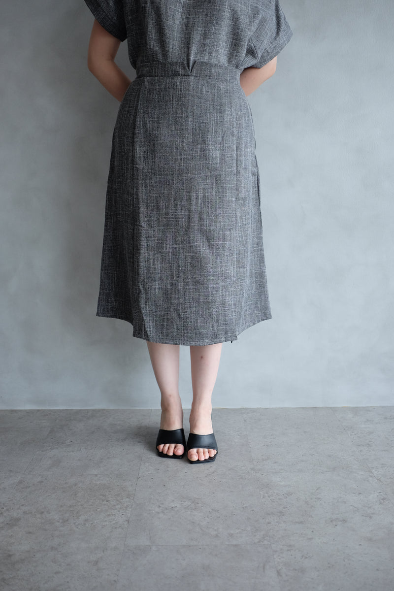 Macy Slit Midi Skirt In Charcoal Grey