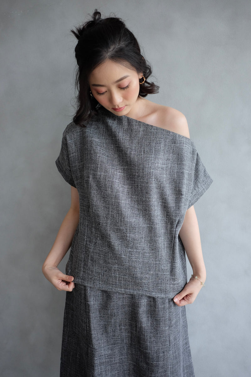 Lou One Shoulder Top In Charcoal Grey