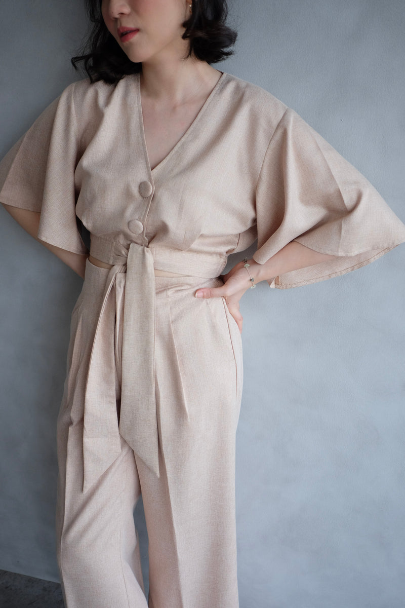 Harper Trumpet Top In Blush Nude