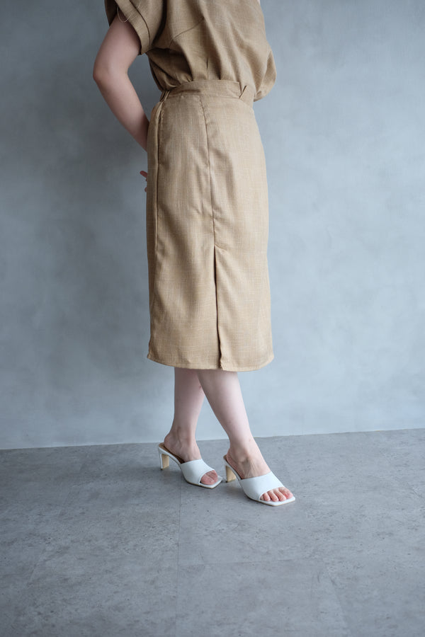 Macy Slit Midi Skirt In Potato Yellow