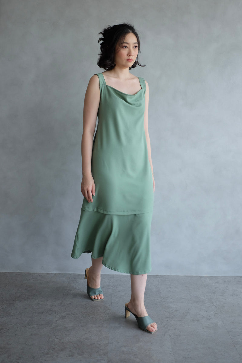 Emma Overall Dress In Mint Green