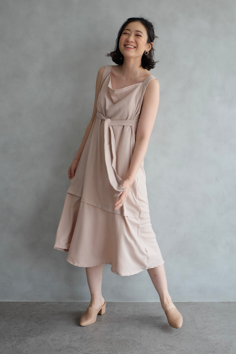 Emma Overall Dress In Blush Nude