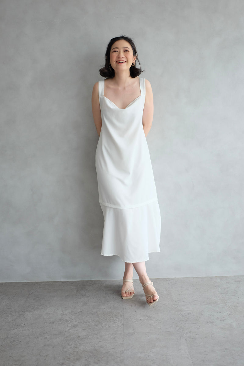 Emma Overall Dress In White