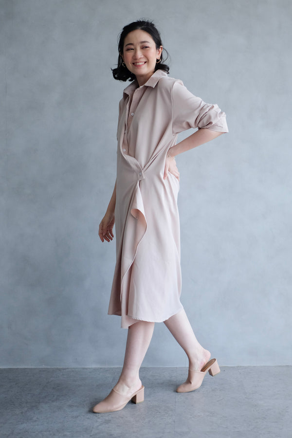 Jillian Drapery Shirt Dress In Blush Nude